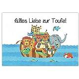 Arche Noah mit Tieren - Glckwunsch zur Taufe - Alles Liebe zur Taufe - Taufkarte Glckwunschkarte...