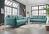 lifestyle4living Couchgarnitur in mintfarbenem Stoff bezogen, Garnitur bestehend aus 2-Sitzer und...