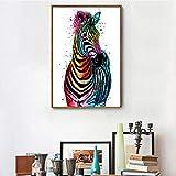 jiushice Rahmen Leinwand ng Kunst Bilder Abstrakte Drucke Zebra Tier Farbe Pic Wandbilder Auf...