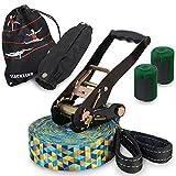ALPIDEX Slackline Set 15 m + Baumschutz und Ratschenschutz, geeignet für Kinder, Anfänger und...