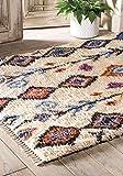 Namaste UK Fair Trade Tarfaya Teppich, geometrisch, Wolle, 90 x 150 cm