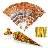 MELLIEX Halloween Cone Süßigkeiten Tüten, 150 Stück Cellophantüten Klein Candy Bar Tütchen mit...