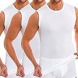 HERMKO 3040 3er Pack Herren Tank Top Unterhemd mit Rundhals-Ausschnitt, Farbe:weiß, Größe:D 6 =...