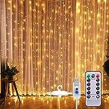 Lichtervorhang Vorhanglichter, Sunnest 300 LED USB Lichterkette Lichterkettenvorhang String Light...