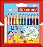 Dreikant-Buntstift - STABILO Trio dick kurz - 12er Pack - mit 12 verschiedenen Farben