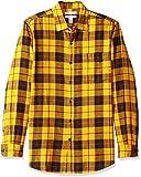 Amazon Essentials Herren-Flanellhemd, schmale Passform, Langarm, kariert, Yellow Plaid, Medium