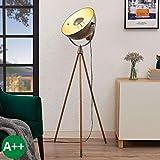 Lindby Stehlampe 'Scharlie' (Vintage, Industriell) in Schwarz aus Metall u.a. für Wohnzimmer &...