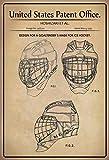 FS Patent Entwurf Torhüter Maske- Eishockey Blechschild Schild gewölbt Metal Sign 20 x 30 cm
