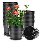 EKKONG Blumentopf Klein 10er-Set,mit Blumentöpfe Untersetzer Pflanztöpfe Kunststoff Spiralmuster...