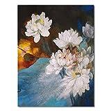 WSWWYKlassische aquarell Blume Poster reinweiß Lotus Hause wandkunstdruck leinwand malerei Bild...