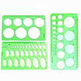 3 Stück kreisförmige Schablonen und ovale Schablonen KunststoffLineal Lineale mit Kreisschablonen...