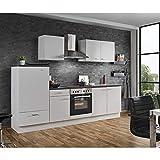 Lomadox Küche mit E-Geräten 270cm Küchenzeile in Weiss Küchenblock Einbauküche Singleküche...