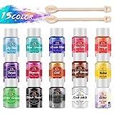 Epoxidharz Farbe, MENNYO 15er*10g Pigmentpulver Metallic Mica Pulver Seifenfarbe Farbpigmente Resin...