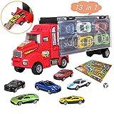 bhdlovely Truck Set Auto Spielzeug LKW Transportfahrzeug spielzeugauto Tragegriff mit 12 Rennautos...