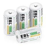 EBL Mono D Akku 10000mAh NI-MH Akku wiederaufladbaren Batterie Typ D Akku 4 Stck