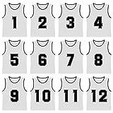 TopTie Nummerierte/blanko Scrimmage Team Practice Mesh Trikots Westen Pinnies (12er-Pack) Weiß (#1...