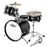 Eastar Schlagzeug Komplettset Kinder 3-teiliges Junior Drum Set 16 Zoll/40.6 cm EDS-285Re mit Thron,...