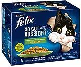 FELIX Katzennassfutter So gut wie es aussieht in Gelee Gemischte Vielfalt mit Gemüse, 6er Pack (6 x...