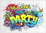 VULAVA 10x EINLADUNGSKARTEN für Party und Kindergeburtstag - die Karten im frech bunten Graffiti...