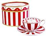 Teetasse und Untertasse, Kerzen, Duftkerze Soja-Kerze, rot gestreifte Teetasse mit Untertasse,...