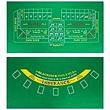 Brybelly Beidseitiger Craps Tisch & Blackjack Casino Filz, praktisch, platzsparend, 91,4 x 45,7 cm,...