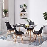 H.J WeDoo Rechteckig Esstisch Buchenholz für 4-6 Stühle Esszimmertisch Küchentisch MDF Schwarz...