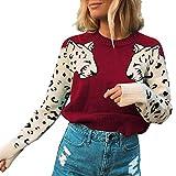 TEFIIR Damen Leopard Stitching Sweatershirt Langarm Pullover Mode Niedlichen Hoodies Herbst/Winter...