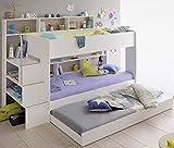 90x200 Kinder Etagenbett Wei/grau mit Bettkasten Treppe und Gelnder