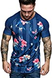 Men's T-Shirts Casual Slim Fit Short Sleeve V Neck Solid Color Sexy Shirt Top Blouse,Dark Blue...