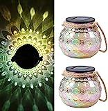 Solar Laterne Glas,Solarleuchte Glas Tomshine Solar Tischleuchte als Deko IP65 Wasserdicht für...