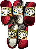 Alize Burcum Batik 5 x 100 Gramm Wolle Mehrfarbig mit Farbverlauf, 500 Gramm Strickwolle (Bordeaux...