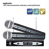 ZSHXF Wireless Funkmikrofon VHF Professionelles dynamisches drahtloses Dual Mikrofon,...