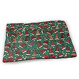 YAGEAD Red Christmas Santa Hats Hundebettmatte mit wasserdichter Rutschfester Unterseite, waschbare...