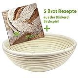 Backspiel Brot-Gärkorb mit Brotrezepte eBook Gärkörbchen rund Korb für Brot und Teig...