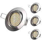 LED Einbaustrahler, 4Pack 3.5W Warmweiße 3000K Ultra Flach Deckenstrahler Einbauleuchte...
