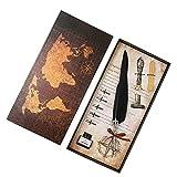 AKDSteel Stifte-Set, Retro-Stil, natürlich, Federn, Tauchstift, perfektes Geschenkverpackungs-Set...
