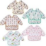 Lictin Baby Lätzchen mit Lange Ärmeln 5 Set Lätzchen Babylätzchen Wasserdicht Baby Bibs Set für...