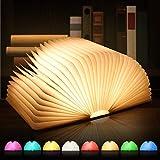 LED Buchlampe, 8 Farbmodi Buch lampe, Hölzerne faltende Buch-Lampe, USB wiederaufladbar...