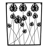 Lesli Living Wanddeko Monstera, eckig 80x64 cm, schwarz, Metall, Wanddekoration, Wandbild,...