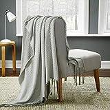 WGHKOL Baumwolldecke Mit Wellenfransen, Gestrickte Decke, Sofadecke, Cremeweiß, 120 * 180 cm