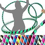 Pro HULA HOOP Reifen fr Anfnger und Profis (10 Farben Ultra-Grip/Glitter Deco) Faltbarer TRAVEL Hula...