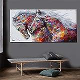 YHNM Battle of The Peak Wandkunst Leinwanddruck Tiermalerei Pferd Bild Für Wohnzimmer Wohnkultur...