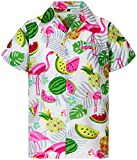 King Kameha Funky Hawaiihemd, Kurzarm, Flamingos Melonen, Weiß, L