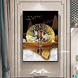 YuanMinglu Tier Wandbild Elefant Leinwand Poster Leinwanddrucke Zebramalerei Wohnzimmer Rahmenloses...