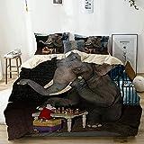 N2 Bettwäsche-Set,Beige,Lustiger Tierelefant und Maus, die Schach Spielen,1 Bettbezug 240x260 + 2...