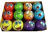 12 Stck bunte Grimassenblle, ca. 6 cm Durchmesser, Flummi, Anti Stressball, Wurfball, Knetball,...