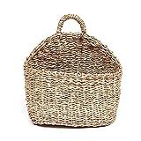 Aufbewahrungskorb aus Seegras Geflochten Korb mit Griff Einkaufskorb Wandkorb halbrund aus Weide...