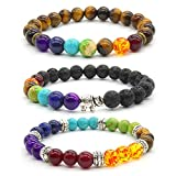 Achat Perlen 7 Chakras Energie Stein Armband Yoga Healing Balance Stein Armkette Elastisches...