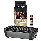 Enders Aurora  Tischgrill Starter-Set, Raucharmer Outdoor Grilltisch mit Holzkohle und Anzndpaste,...