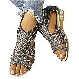 Xiangdanful Damen Römische Sandalen mit Metalldekor Mädchen Sandalette mit Keilabsatz...